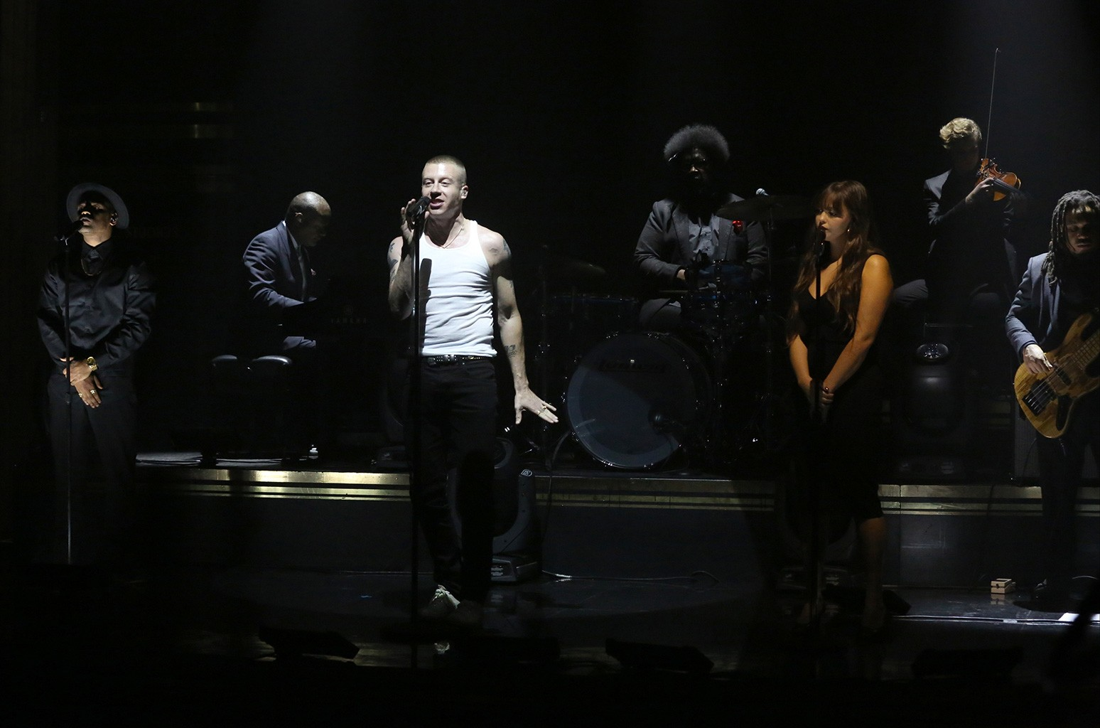 Macklemore performs with Ariana Deboo and The Roots on The Tonight Show Starring Jimmy Fallon on Nov. 16, 2016.