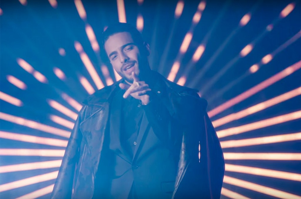 "Maluma in the video for ""Felices los 4."""