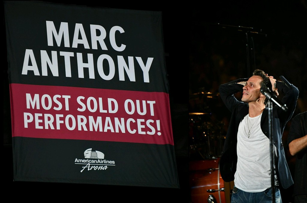 Marc Anthony broke the record for most sellouts of any artist in the history at American Airlines arena and was honored with a special banner at the Arena this past weekend.  The banner will remain up with their team (Miami Heat) championship banners.