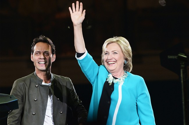 Hillary Clinton joins Marc Anthony onstage in Miami