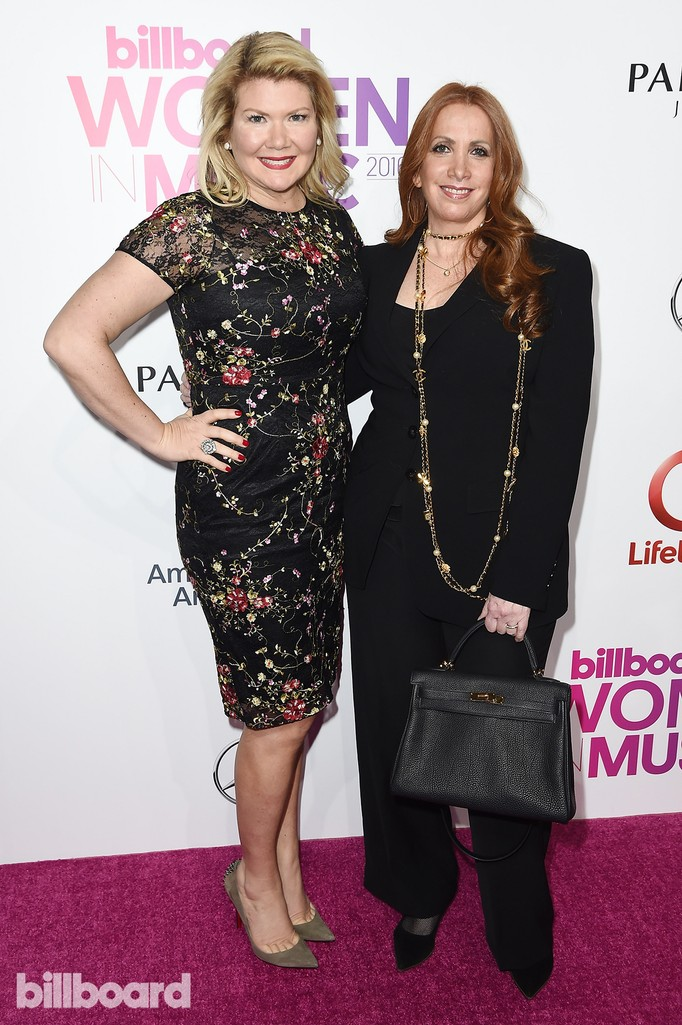 Marcie Allen and Cara Lewis attend the Billboard Women in Music 2016 event on Dec. 9, 2016 in New York City.