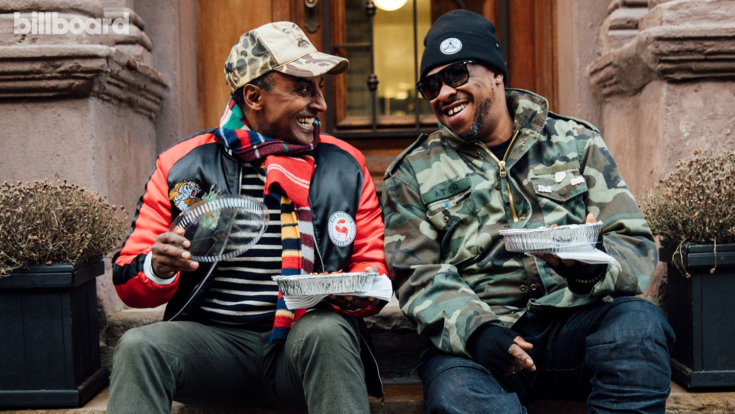Marcus Samuelsson (left) and A Tribe Called Quest's Jarobi White photographed Jan.16 in Harlem.