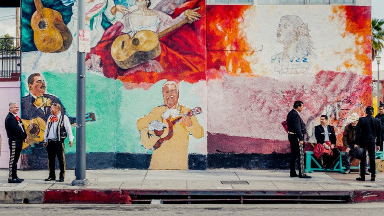 <p>Performers await work on Mariachi Plaza in Los Angeles on a Saturday afternoon in February. The musicians, who play mostly for immigrant clients (some documented, others not), have found jobs harder to come by in the Trump era.</p>