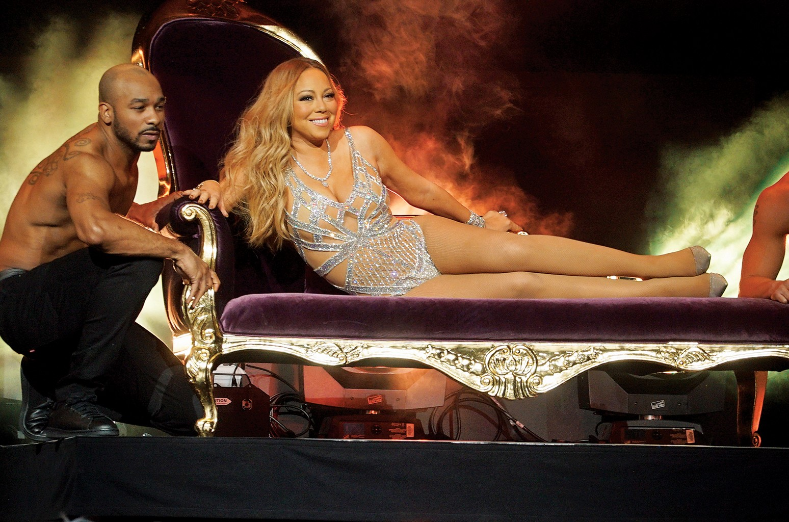 Carey brought (self-mocking?) grandiosity to her Mariah's World presentation at NBC's upfront on May 16.