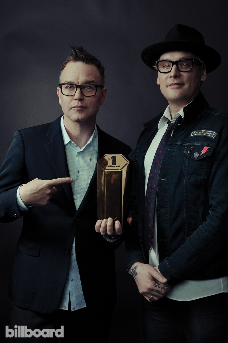 Mark Hoppus and Matt Skiba of Blink 182 photographed on Feb. 9 at Billboard Power 100 in West Hollywood, Calif.