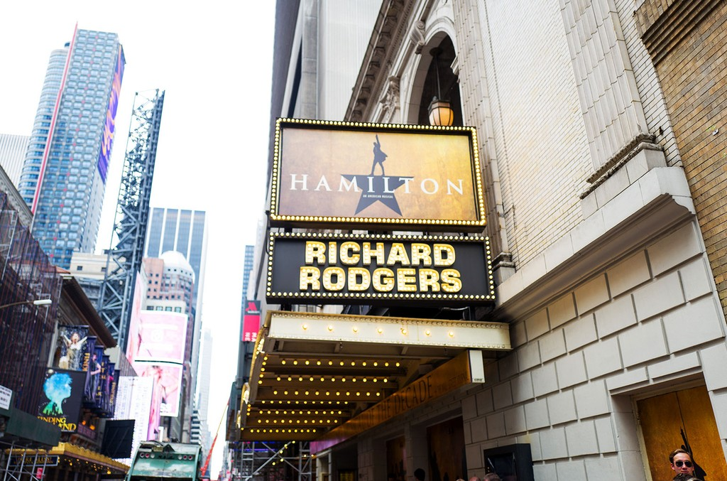 Marquee for the musical Hamilton at the Richard Rodgers theatre New York City on July 7, 2016.