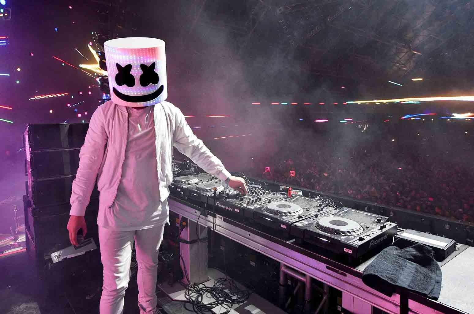 Marshmello performs at the Sahara tent during day 3 of the Coachella Valley Music And Arts Festival (Weekend 1) at the Empire Polo Club on April 16, 2017 in Indio, Calif.