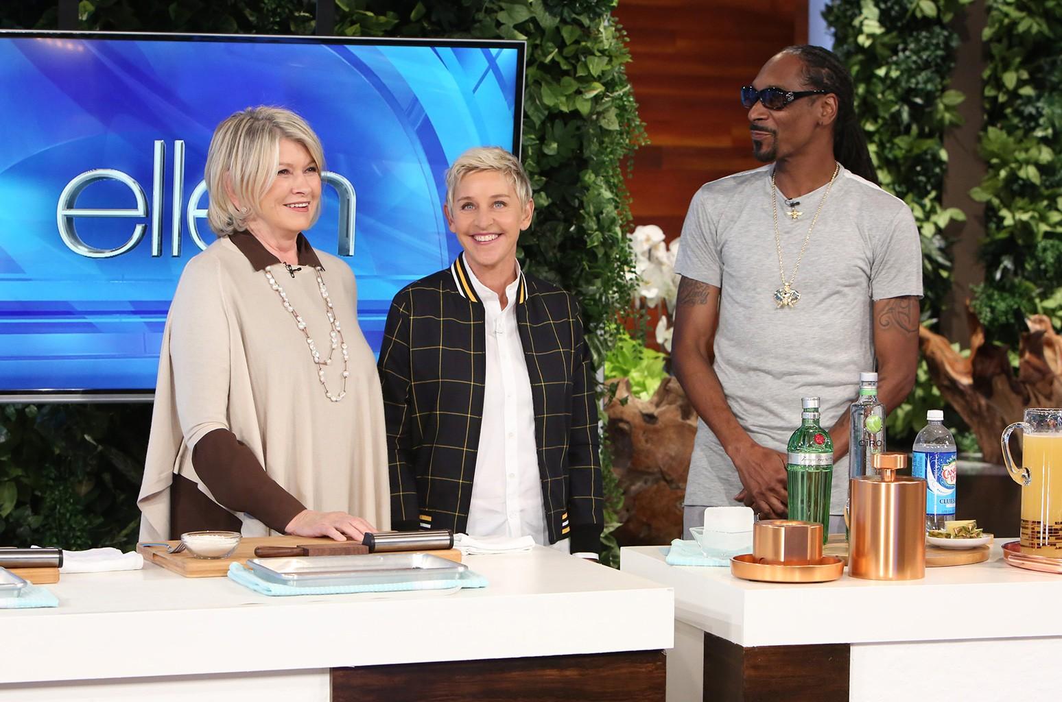 "Martha Stewart and Snoop Dog on ""The Ellen DeGeneres Show"" on Oct. 26, 2016."