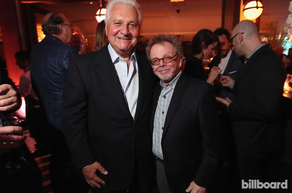 Executive Martin Bandier and composer Paul Williams attend 2017 Billboard Power 100 - Inside at Cecconi's on Feb. 9, 2017 in West Hollywood, Calif.