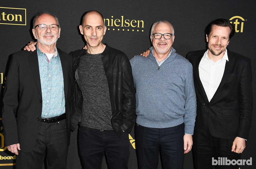 Music Leadership Group of Paradigm Talent Agency, Dan Weiner, Paul Morris, Sam Gores and Tom Windish attend Billboard Power 100 - Red Carpet at Cecconi's on Feb. 9, 2017 in West Hollywood, Calif.
