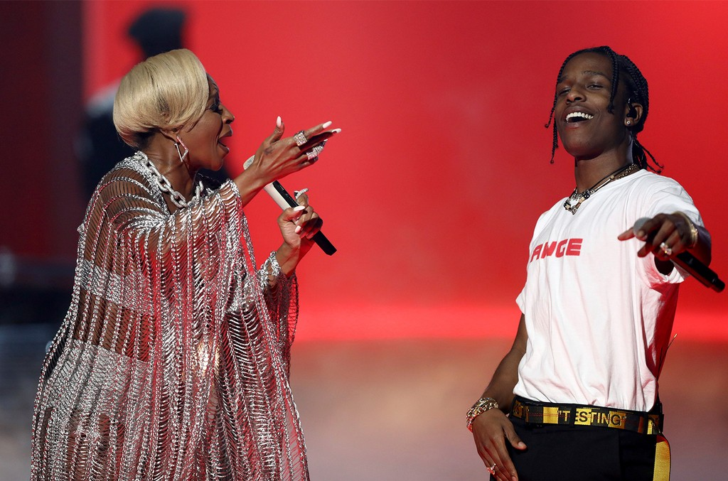 Mary J. Blige and A$AP Rocky perform at the BET Awards at the Microsoft Theater on June 25, 2017 in Los Angeles.