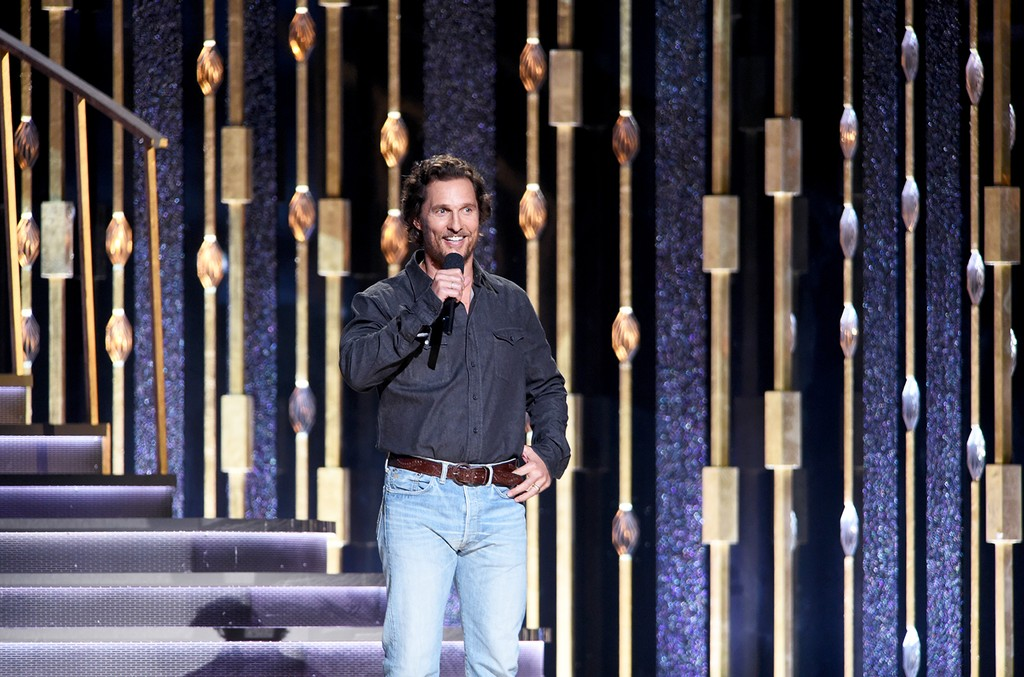 Matthew McConaughey speaks onstage at the 50th annual CMA Awards