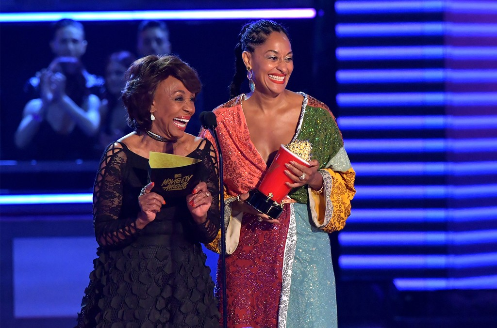 Maxine Waters and Tracee Ellis Ross speak onstage during the 2017 MTV Movie And TV Awards at The Shrine Auditorium on May 7, 2017 in Los Angeles.