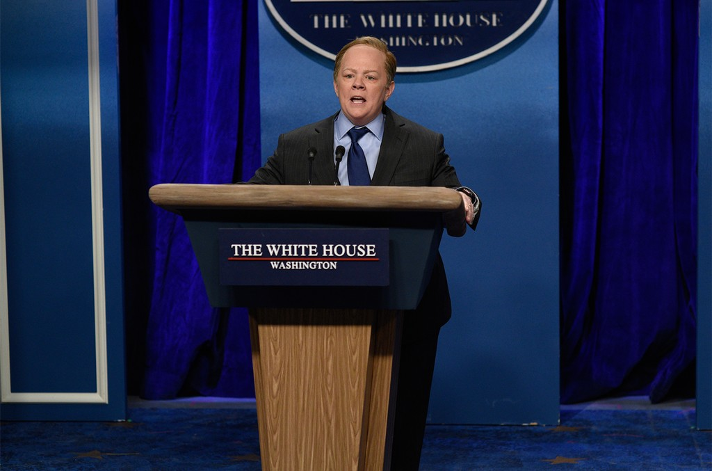 "Melissa McCarthy as Press Secretary Sean Spicer during the ""Sean Spicer Press Conference"" sketch on Saturday Night Live on Feb. 4, 2017."