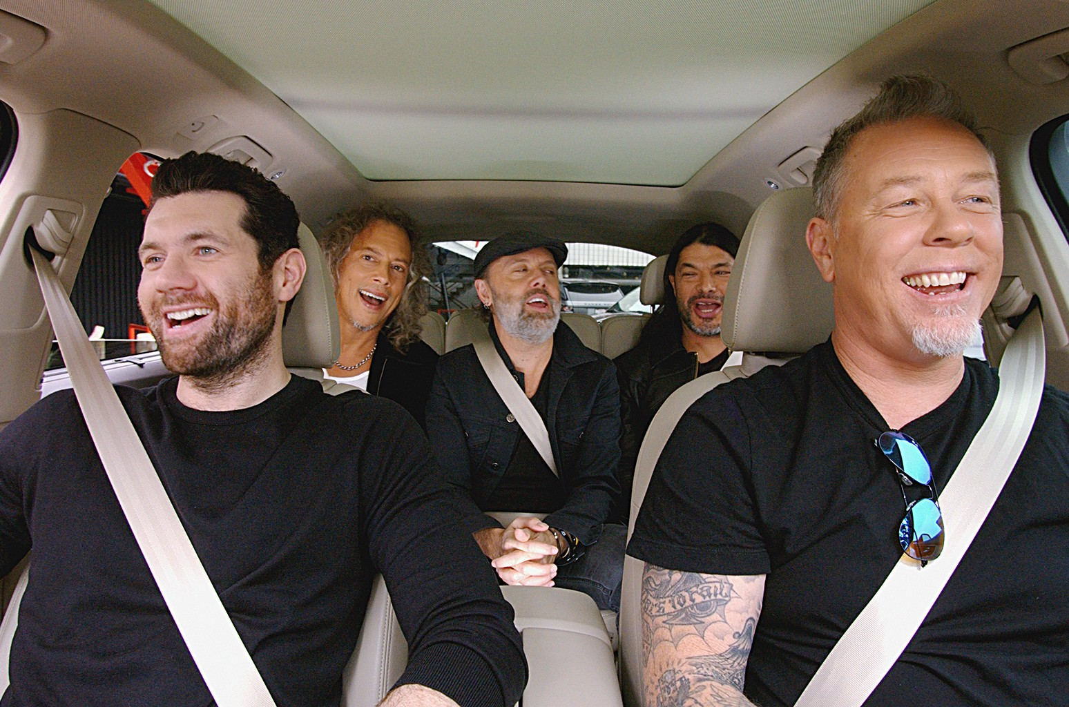 Metallica & Billy Eichner during Apple Carpool Karaoke