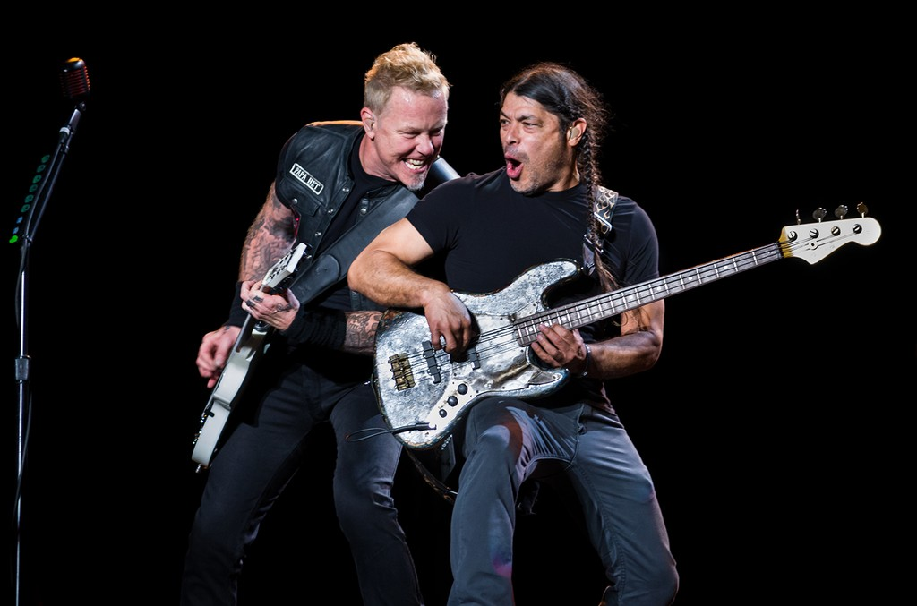 James Hetfield and Robert Trujillo of Metallica perform on stage during day 1 of Lollapalooza Argentina at Hipodromo de San Isidro on March 31, 2017 in San Isidro, Argentina.