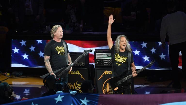 Metallica S James Hetfield And Kirk Hammett Rock The National Anthem Ahead Of Nba Finals Game 3 Watch Billboard