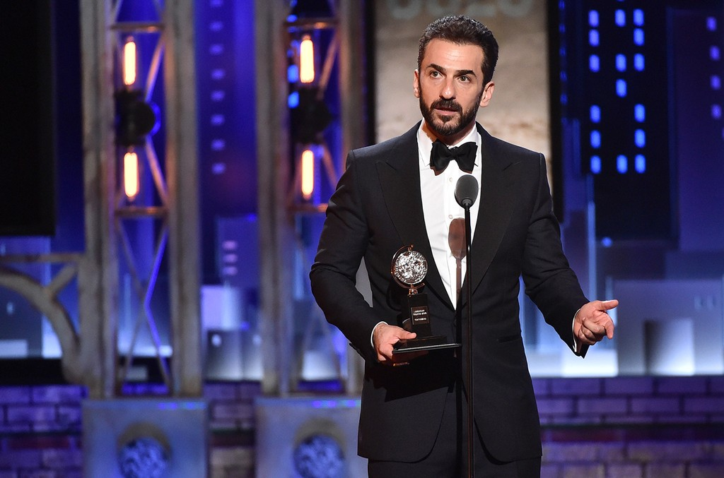Michael Aronov accepts the award for Best Performance by an Actor in a Featured Role in a Play for ?Oslo? onstage during the 2017 Tony Awards at Radio City Music Hall on June 11, 2017 in New York City.