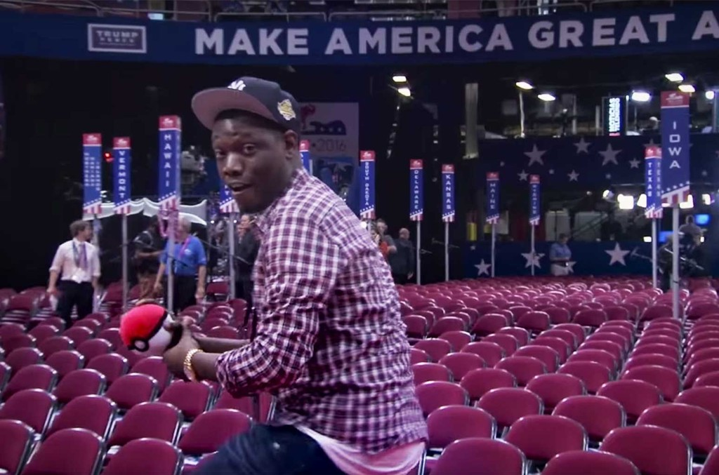 """Michael Che playing """"Trumpemon Go"""" at the RNC"""