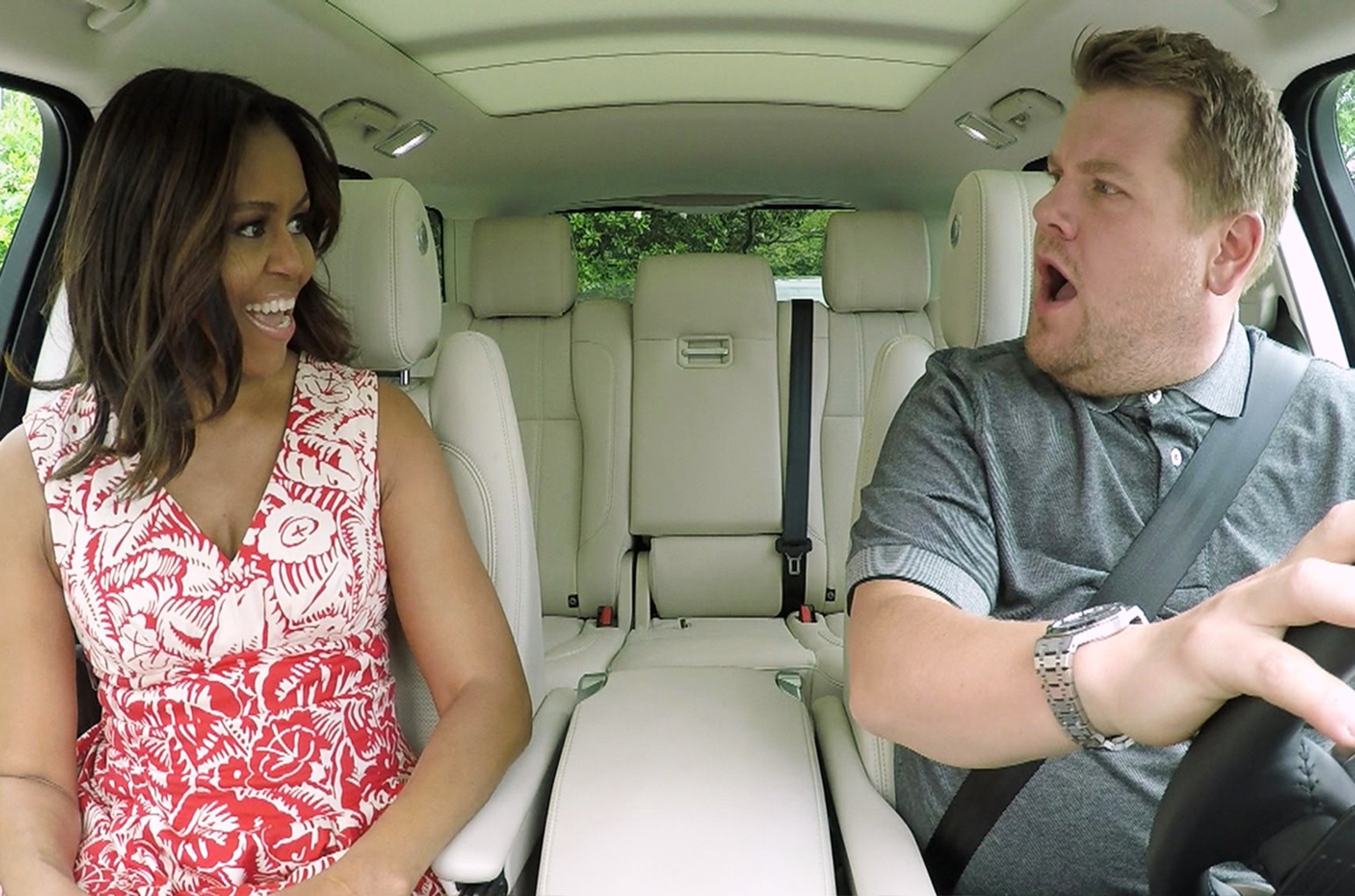 "Michelle Obama and James Corden in ""Carpool Karaoke"""