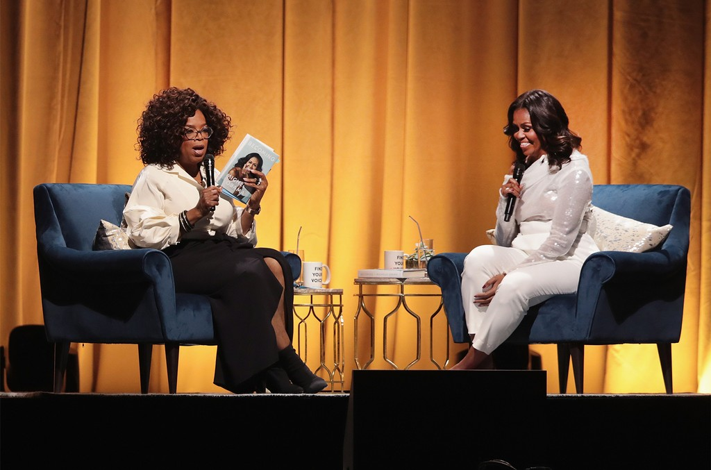 Oprah Winfrey interviews former first lady Michelle Obama as she kicks off her 'Becoming'  arena book tour on Nov. 13, 2018 in Chicago.