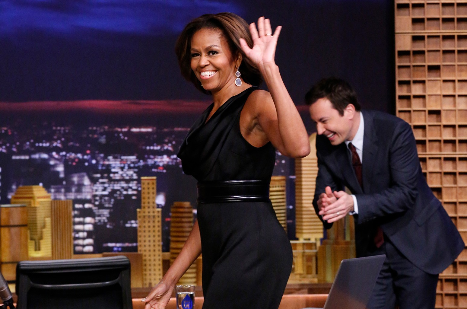 First Lady Michelle Obama arrives on 'The Tonight Show Starring Jimmy Fallon' on Feb. 20, 2014.