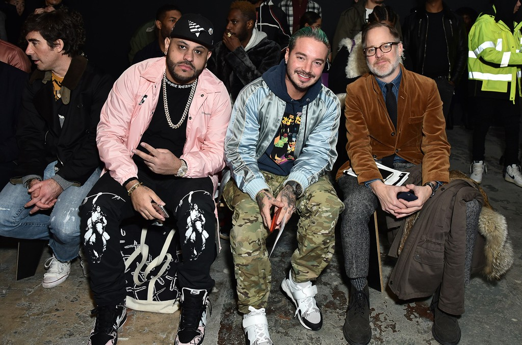 Mike Vandal, J Balvin and Bruce Pask attend John Elliott - Front Row - NYFW: Men's at Skylight Clarkson North on Feb. 1, 2017 in New York City.