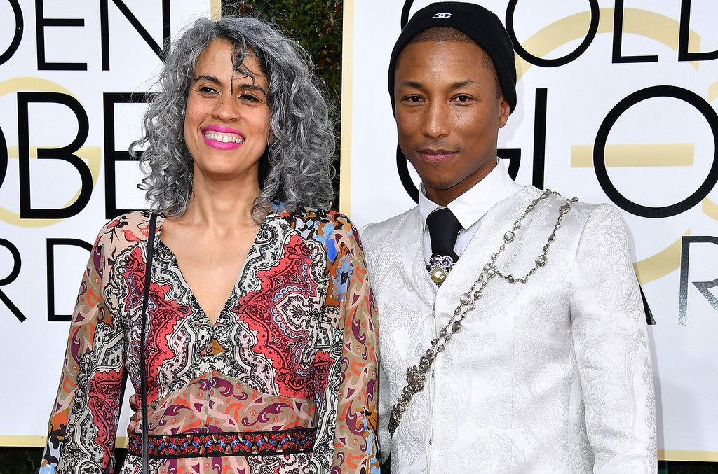 Mimi Valdes and Pharrell Williams attend the 74th Annual Golden Globe Awards at The Beverly Hilton Hotel on Jan. 8, 2017 in Beverly Hills, Calif.