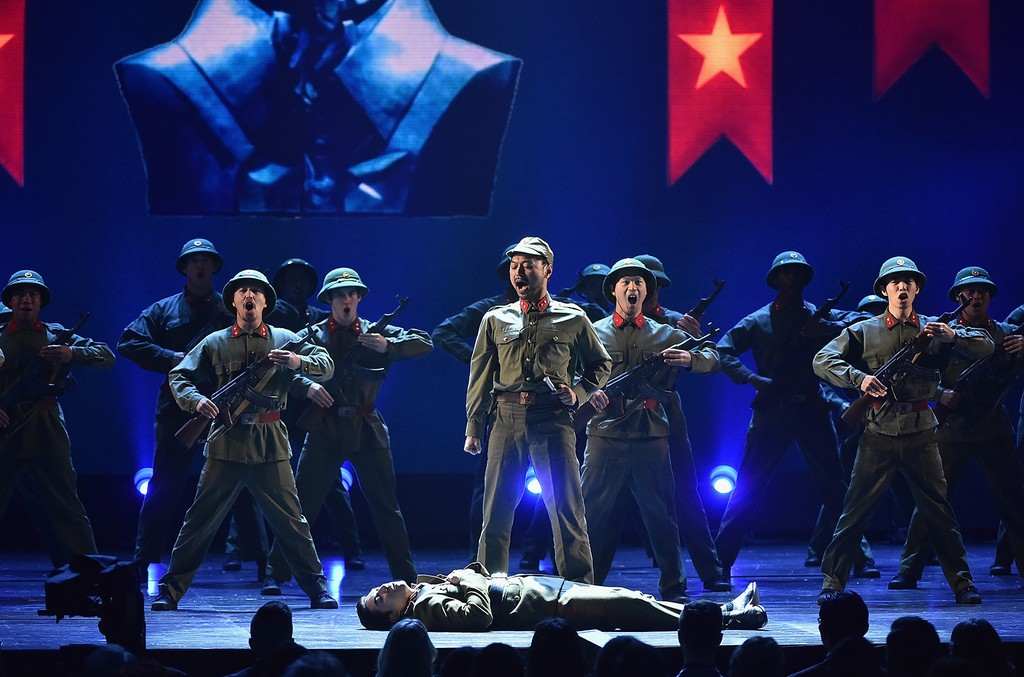 The cast of 'Miss Saigon' performs onstage during the 2017 Tony Awards at Radio City Music Hall on June 11, 2017 in New York City.