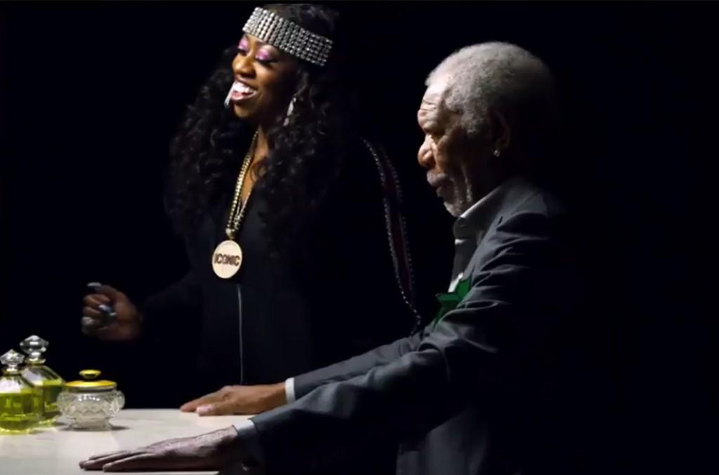 Missy Elliott and Morgan Freeman in a Mtn Dew Ice vs Doritos Blaze commercial