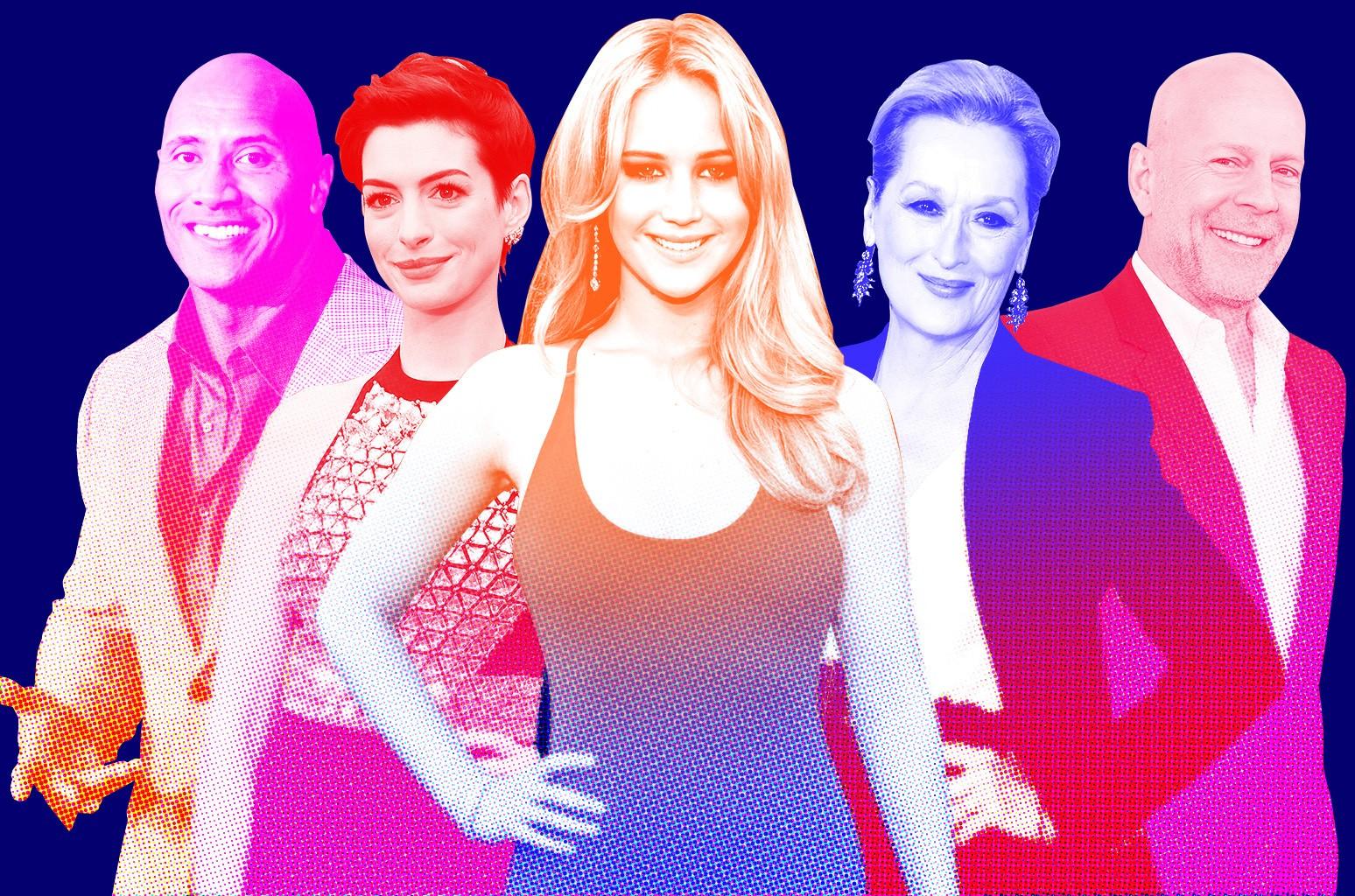 Dwayne Johnson, Anne Hathaway, Jennifer Lawrence, Meryl Streep & Bruce Willis