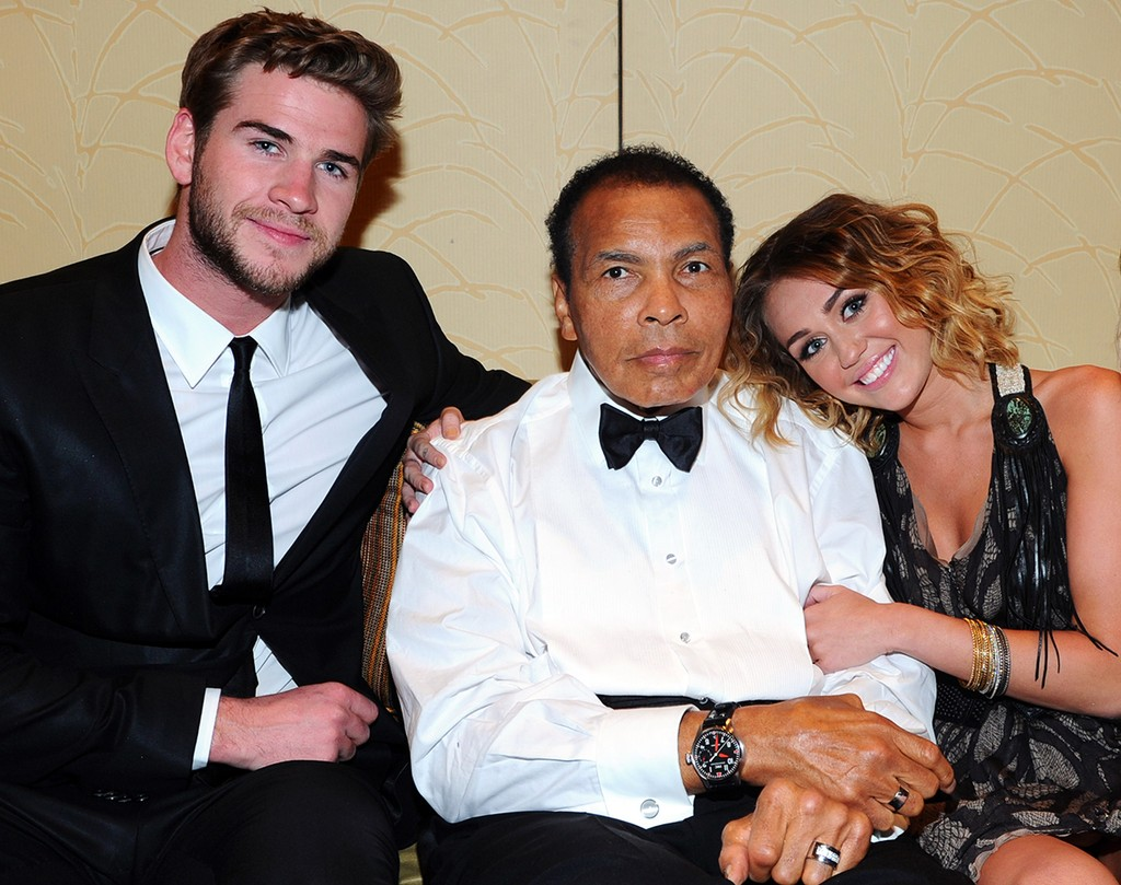 Liam Hemsworth, Muhammad Ali, and Miley Cyrus