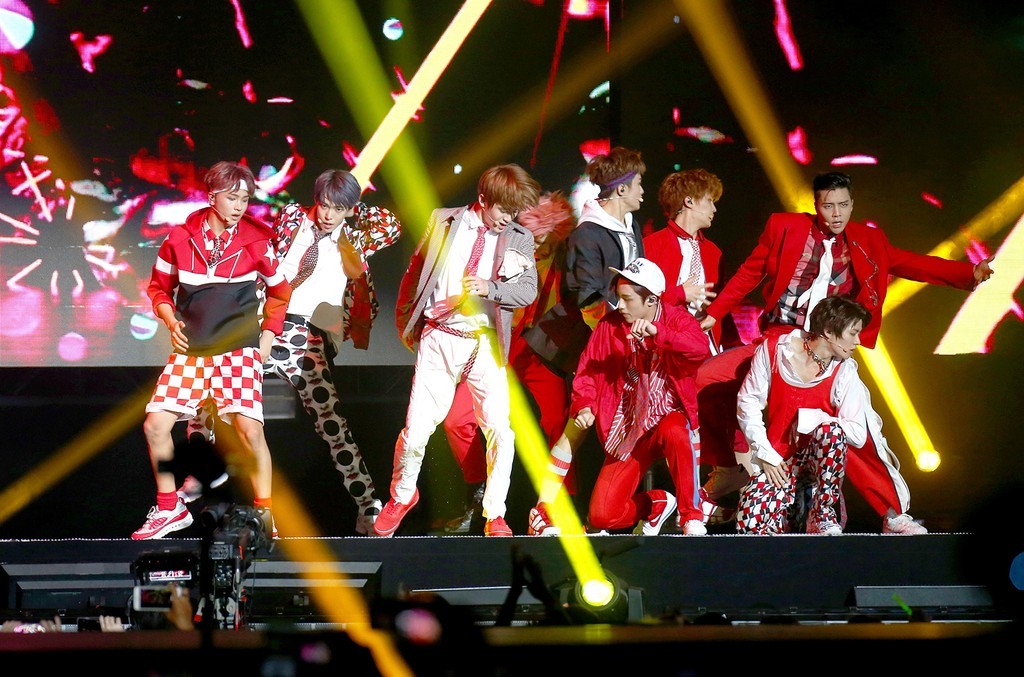 NCT 127 perform at KCON 2017 Day 2 at Prudential Center on June 24, 2017 in Newark, N.J.