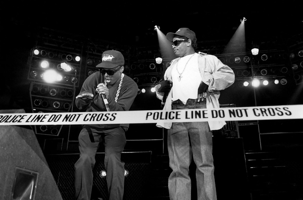 """MC Ren and Eazy-E. from N.W.A. performs during the """"Straight Outta Compton"""" tour at Kemper Arena in Kansas City, Missouri in 1989."""