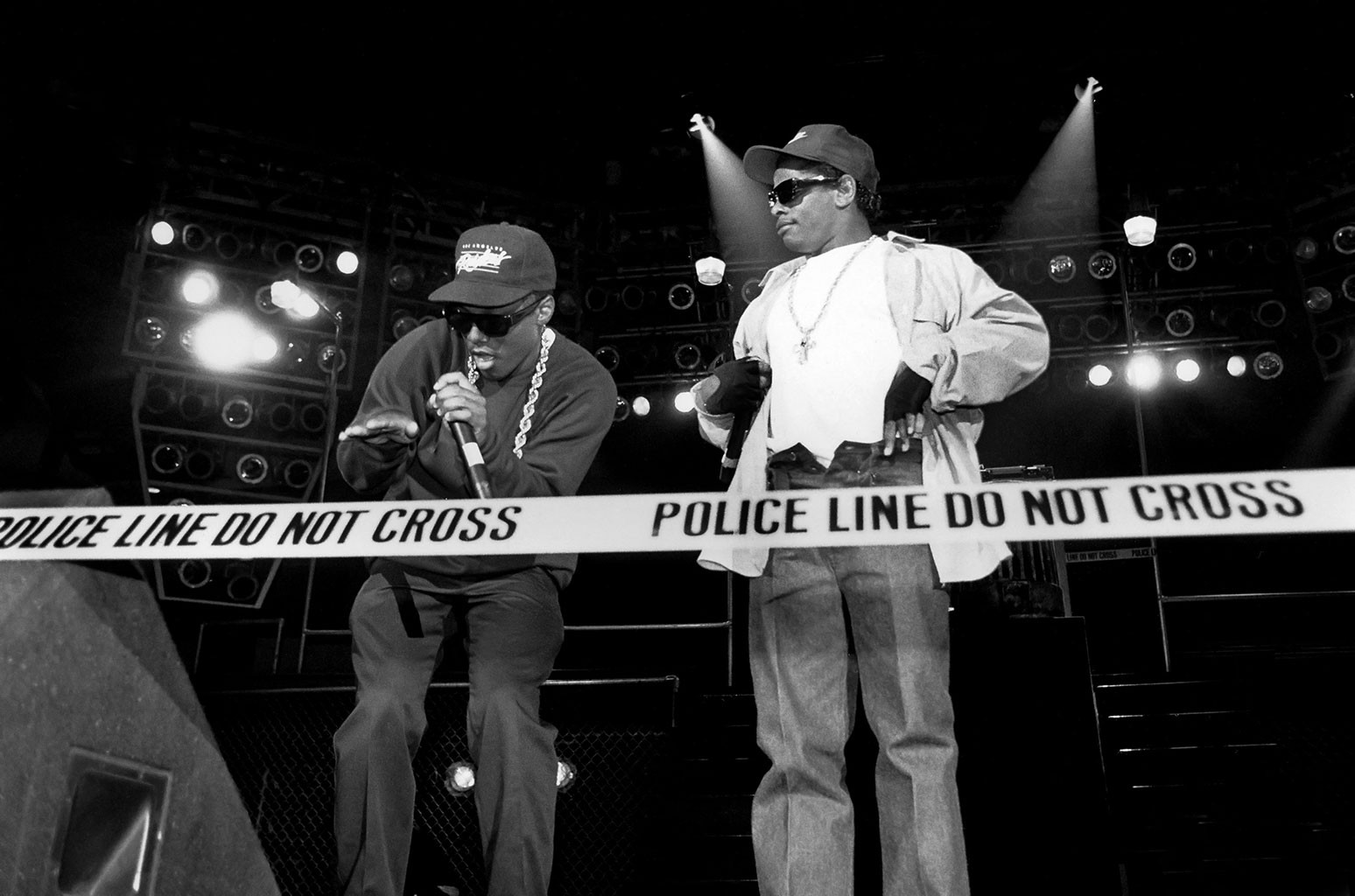 "MC Ren and Eazy-E. from N.W.A. performs during the ""Straight Outta Compton"" tour at Kemper Arena in Kansas City, Missouri in 1989."