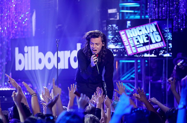 Harry Styles of One Direction performs at Dick Clark's New Year's Rockin' Eve