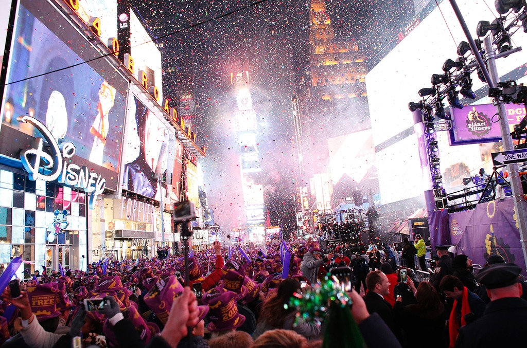 The ball drop during the New Year's Eve celebration in Times Square