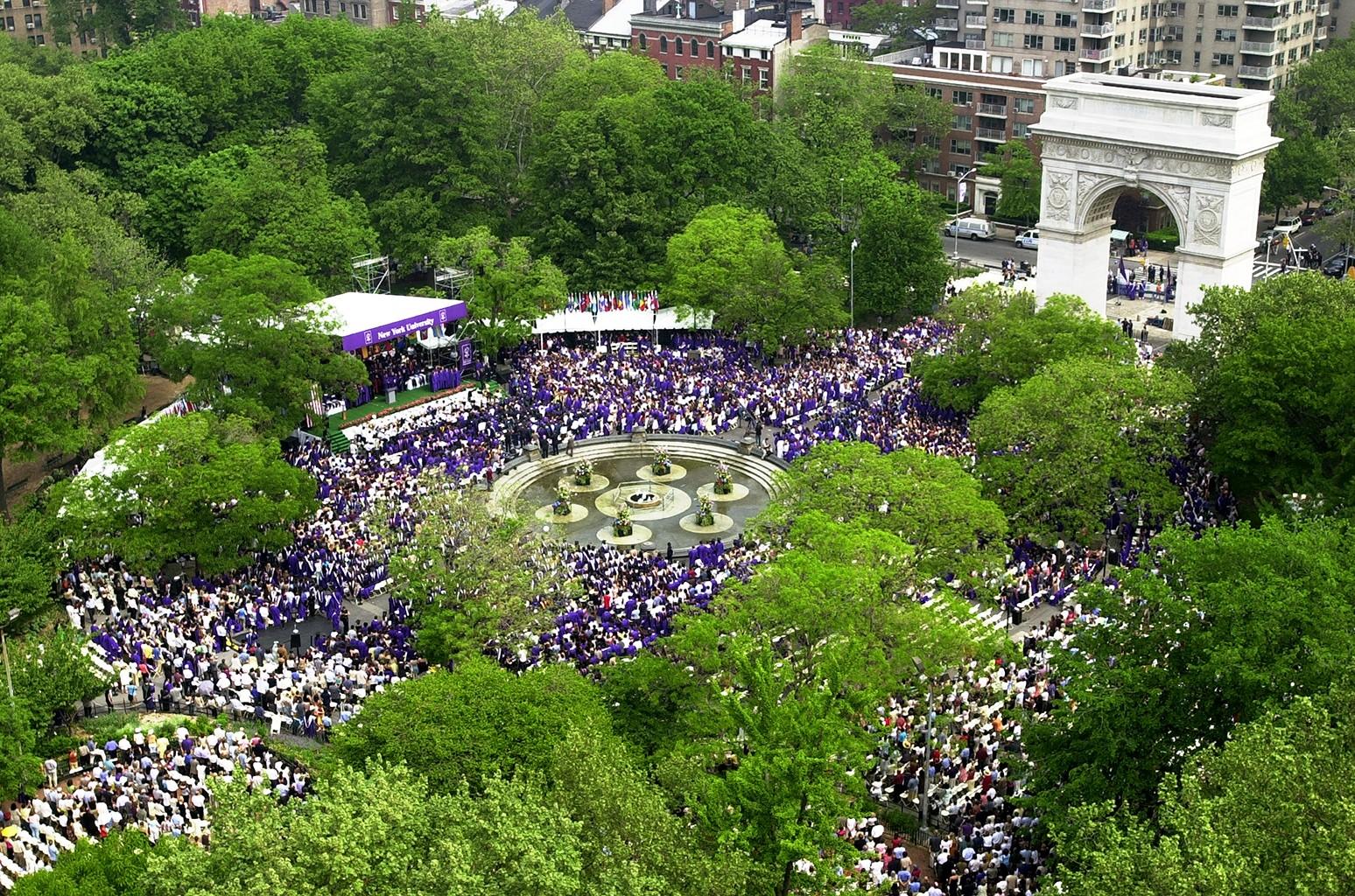 NYU graduates in Washington Square Park