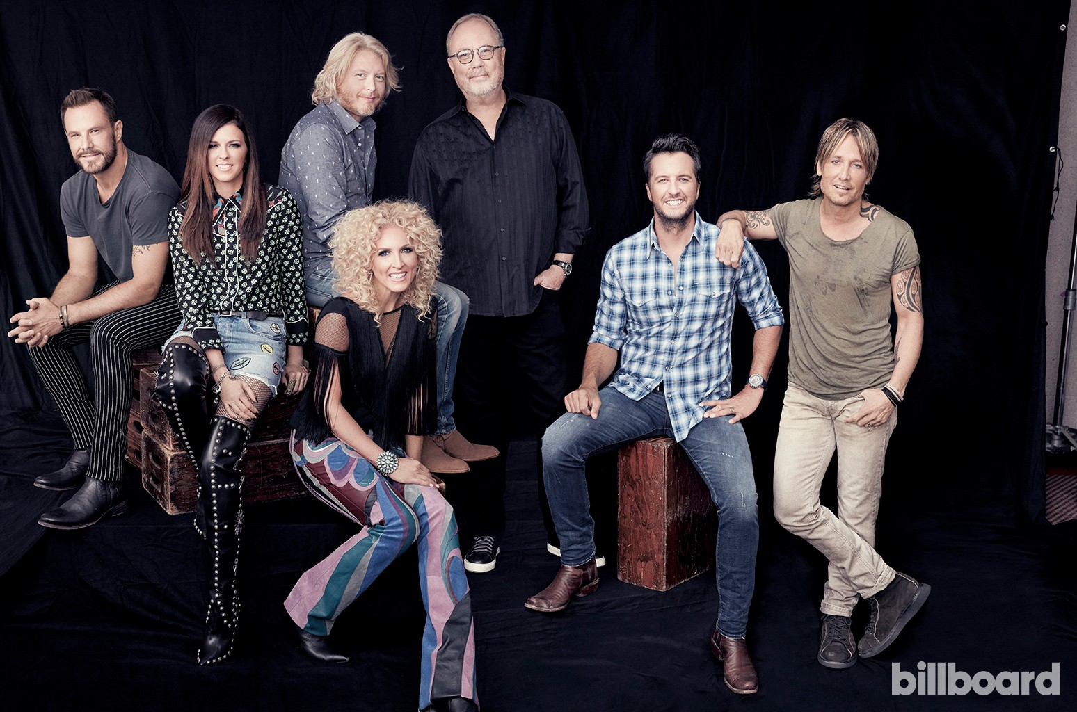 From left: Jimi Westbrook, Karen Fairchild, Phillip Sweet and Kimberly Schlapman of Little Big Town, Dungan, Bryan and Urban photographed together by Austin Hargrave on June 12 at Nissan Stadium in Nashville.