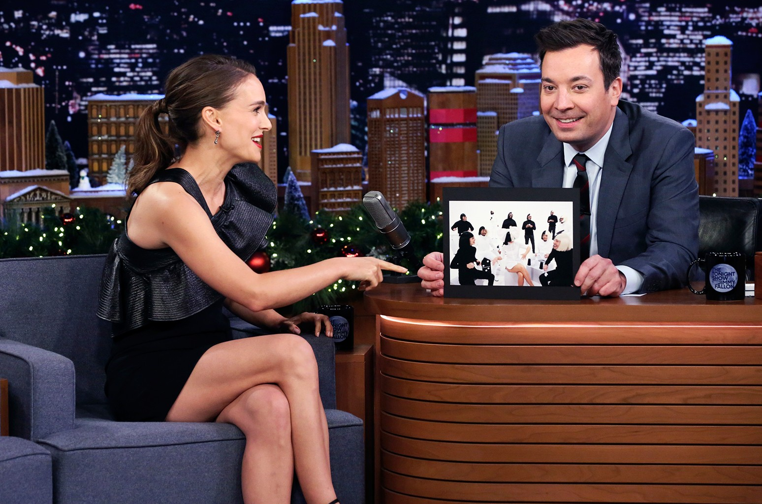Natalie Portman during an interview with host Jimmy Fallon on The Tonight Show Starring Jimmy Fallon on Dec. 12, 2018.