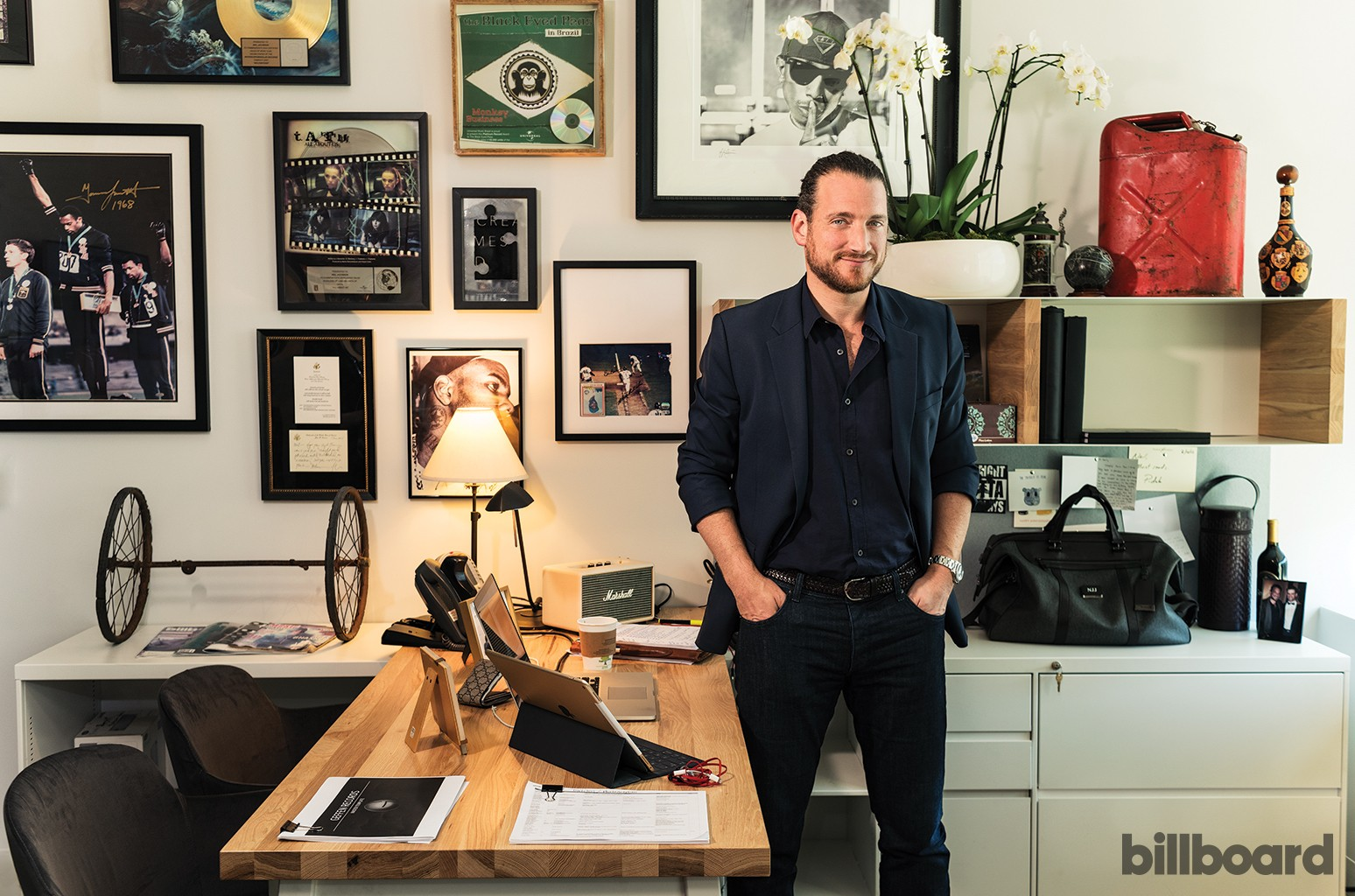 """The new Geffen has an eight-person staff, but, says Jacobson, photographed March13 at his office in Santa Monica, """"this is a label within a label. We need to make sure the larger Interscope is seeing the artists and projects the right way."""""""