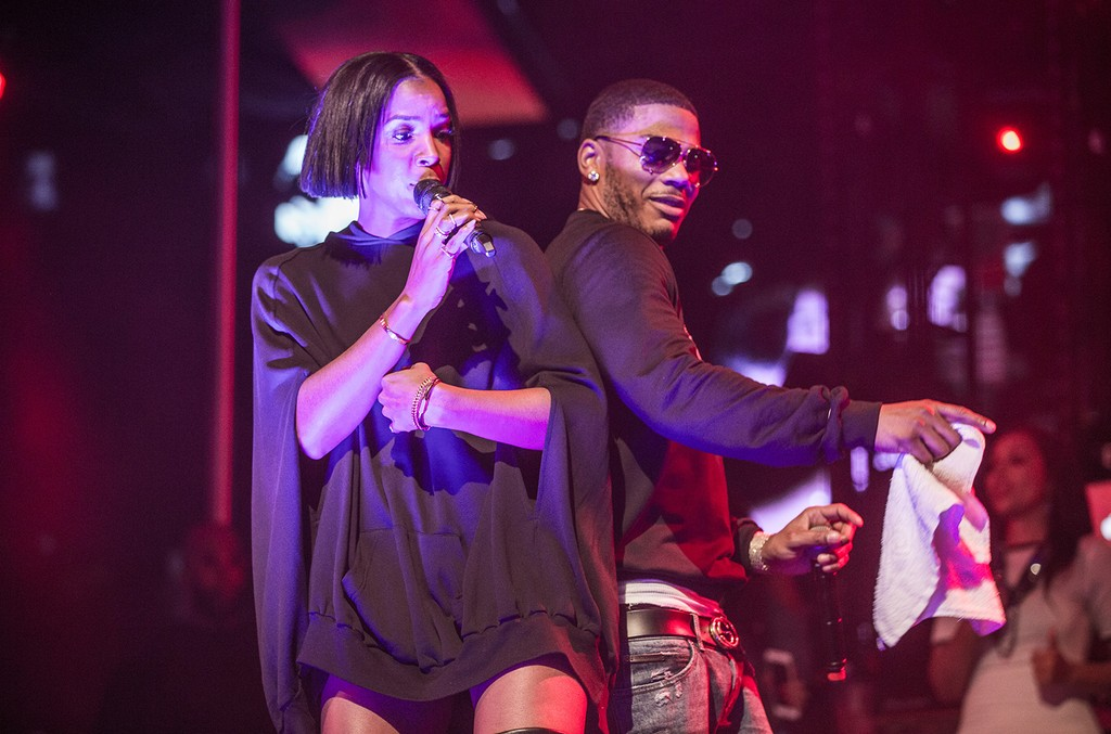 Kelly Rowland joins Nelly onstage to perform during his birthday celebration at Drais in Las Vegas on November 5, 2016.