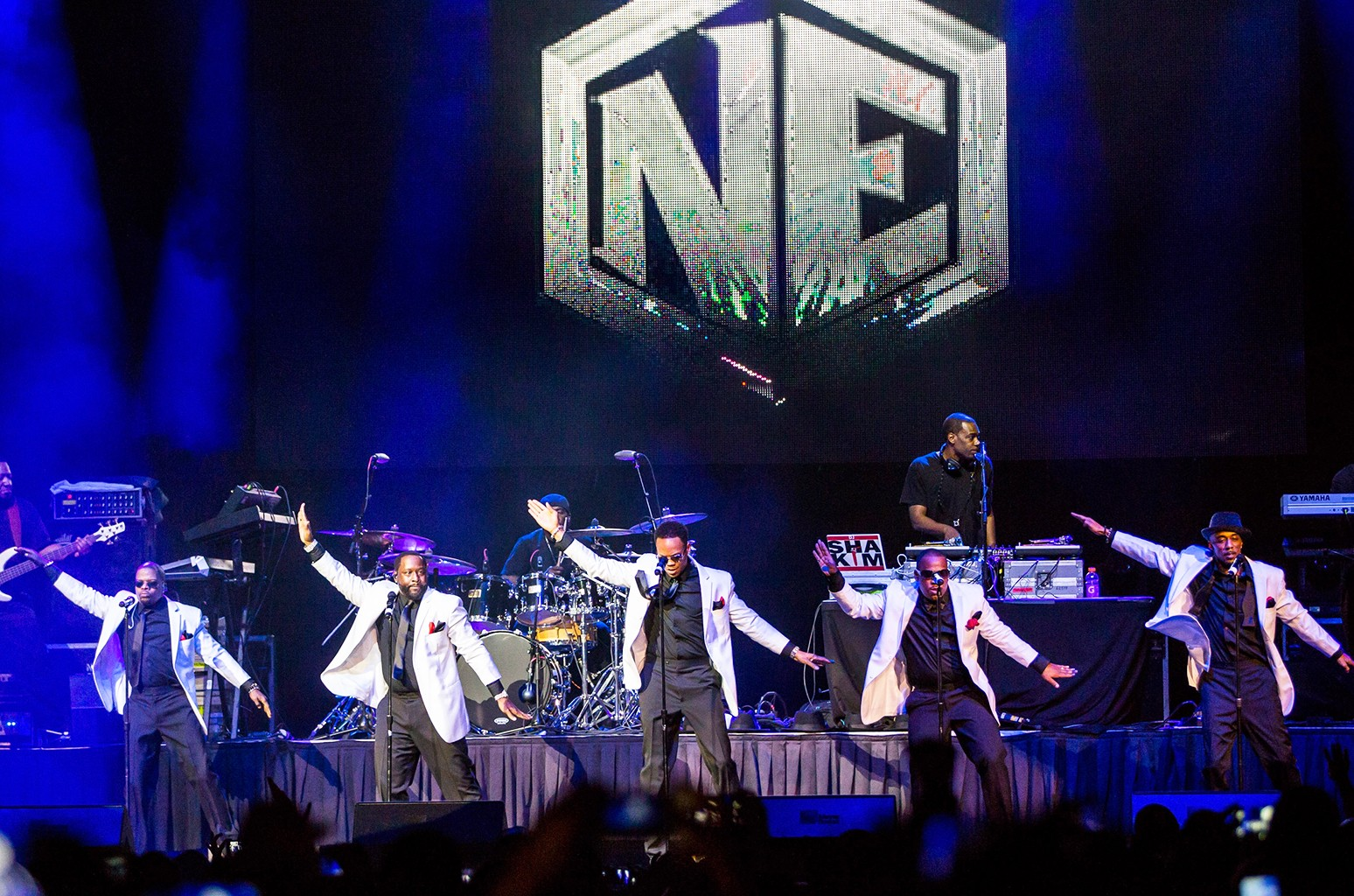 New Edition performs at Joe Louis Arena during the Holiday Jam on Dec. 12, 2015 in Detroit, Michigan.