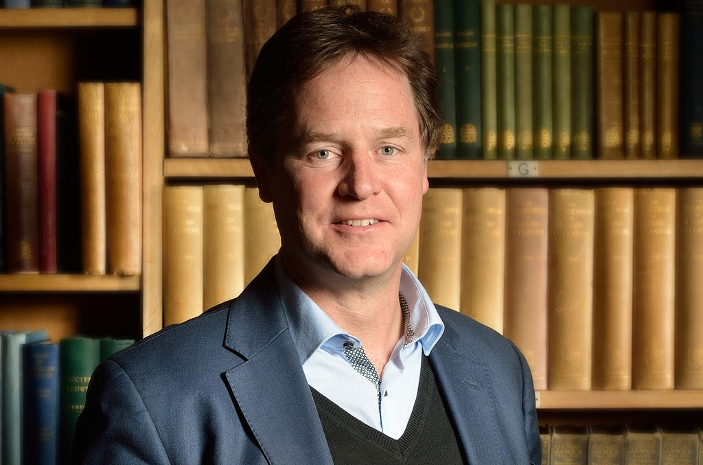 Nick Clegg photographed at the Cambridge Union on April 27, 2016 in Cambridge, Cambridgeshire.