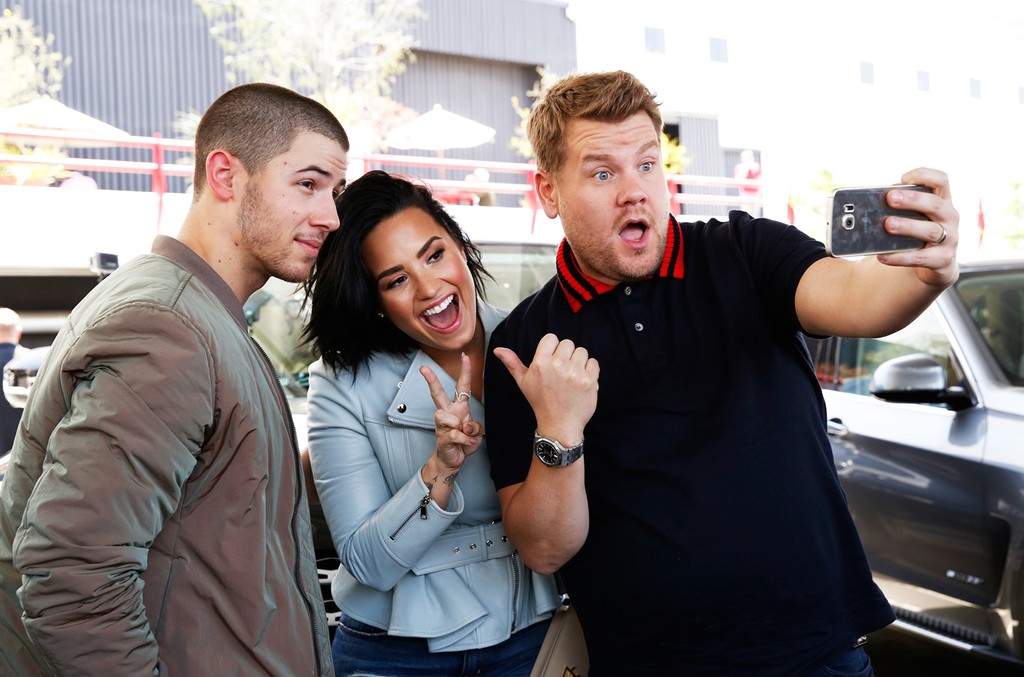 "Nick Jonas and Demi Lovato join James Corden for Carpool Karaoke on ""The Late Late Show with James Corden"" on May 16, 2016."
