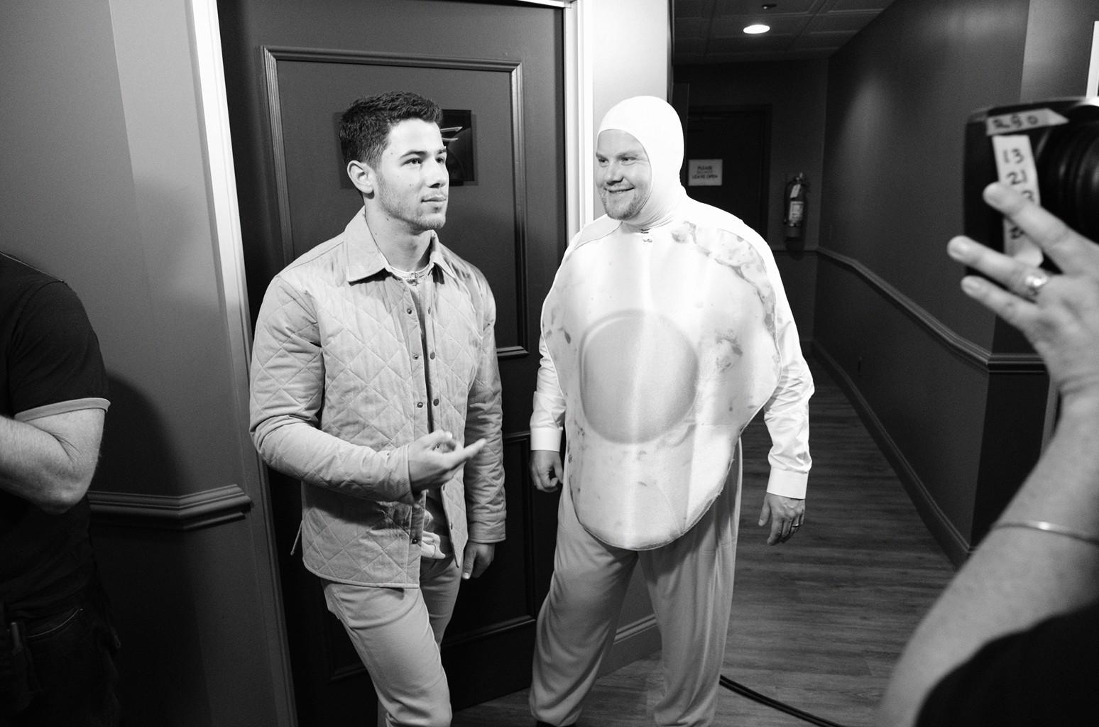 Backstage with Nick Jonas and James Corden on The Late Late Show with James Corden on Sept. 20, 2016.
