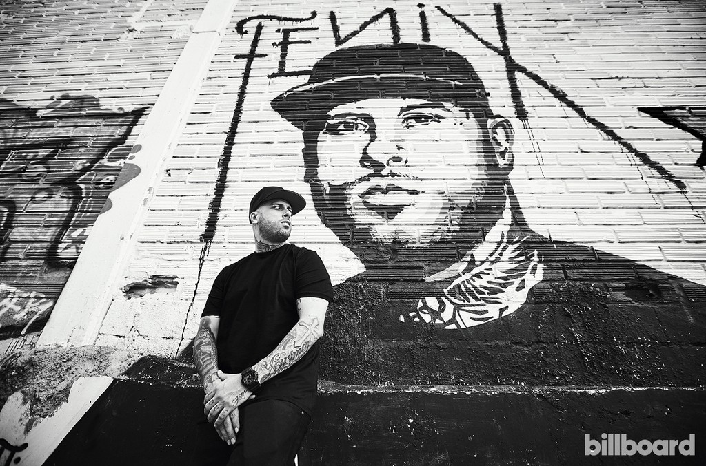 Nicky Jam, photographed Feb. 1 in front of a mural of himself painted by fans in Medellín.
