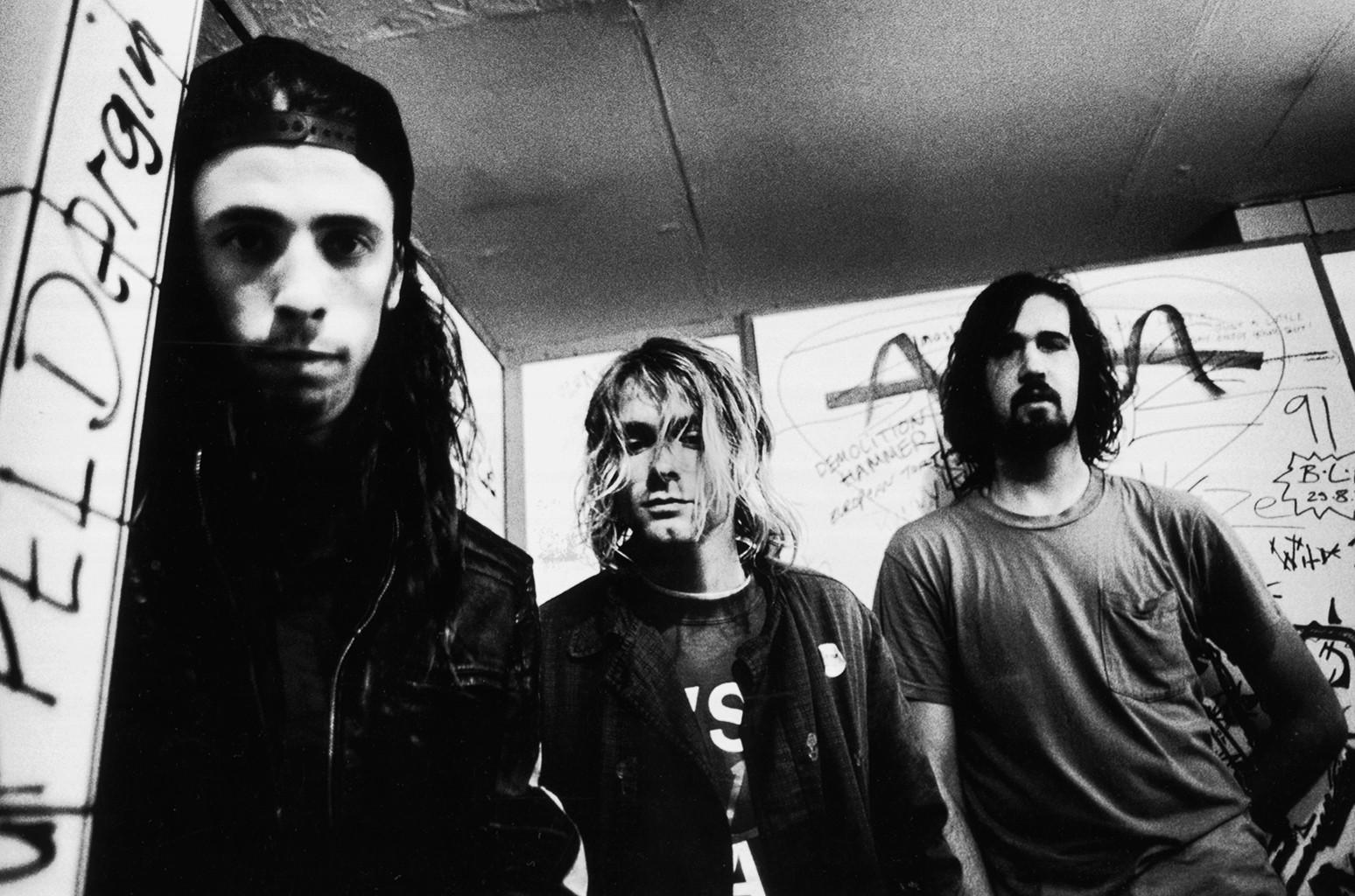 Dave Grohl, Kurt Coabin, Krist Novoselic of Nirvana photographed in 1991.