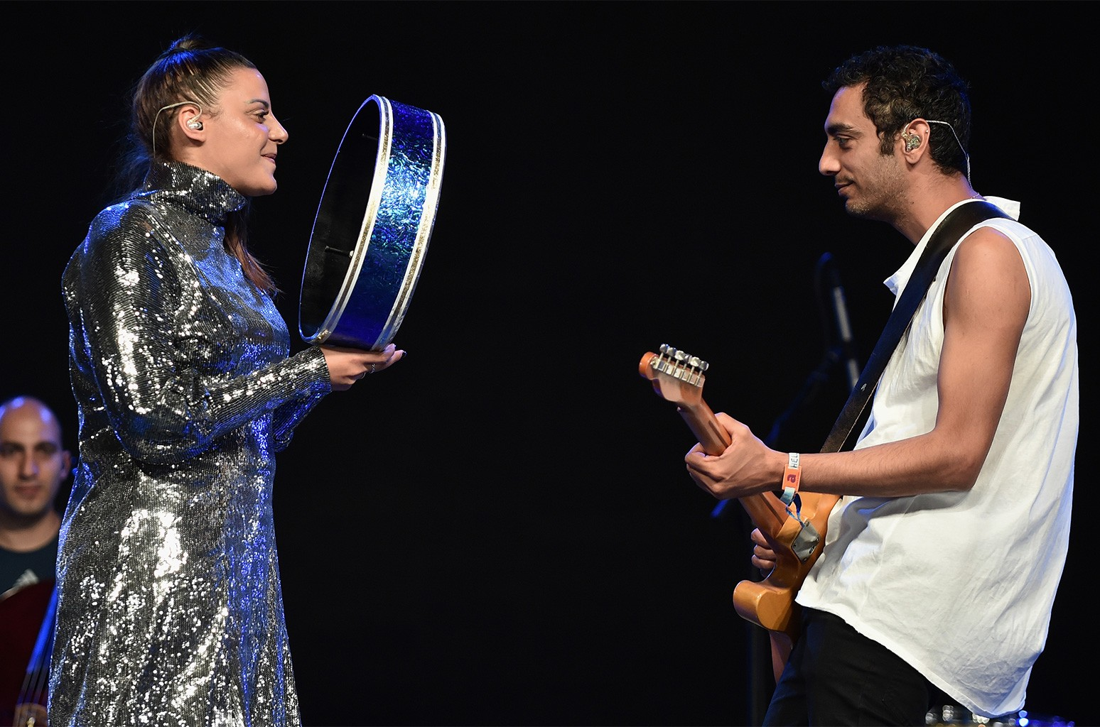 Nasrin Kadry and Dudu Tassa of Dudu Tassa & the Kuwaitis perform at the Gobi Tent during day 1 of the Coachella Valley Music And Arts Festival (Weekend 1) at the Empire Polo Club on April 14, 2017 in Indio, Calif.
