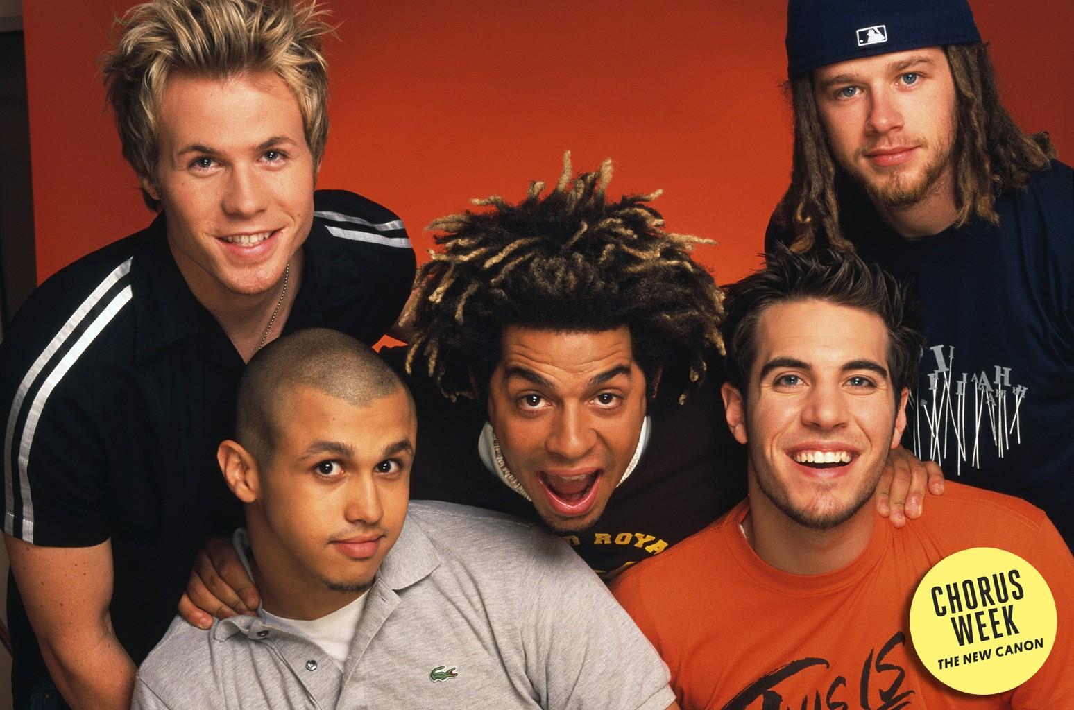 Erik-Michael Estrada, Dan Miller, Ashley Parker Angel, Trevor Penick and Jacob Underwood of O-Town photographed in 2001.